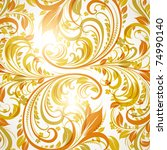 seamless wallpaper with floral... | Shutterstock .eps vector #74990140