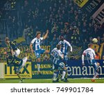 Small photo of SOLNA SWEDEN - OCT 30, 2017: Soccer player jumping in a chaotic situation in the game between AIK and IFK Gothenburg. October 30 2017,Solna,Sweden