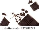 broken chocolate bar isolated... | Shutterstock . vector #749904271