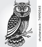 decorative owl | Shutterstock .eps vector #74990545
