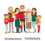 christmas family portrait | Shutterstock .eps vector #749909659