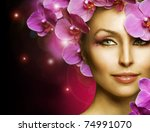 Fashion  Woman With Flowers...