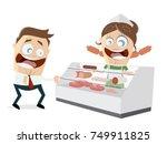 butcher's shop clipart | Shutterstock .eps vector #749911825