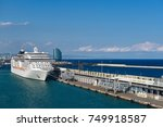 cruise ship in port of...   Shutterstock . vector #749918587