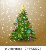 the christmas tree is decorated ... | Shutterstock . vector #749923327