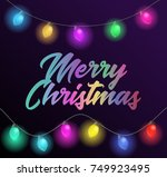 merry christmas colorful text... | Shutterstock . vector #749923495