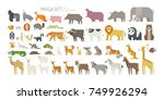 Stock vector animal mega set side view pose mammal land based wildlife animals geometric vector illustration 749926294