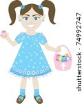 Raster version of cute little girl with Easter Eggs and Basket. - stock photo
