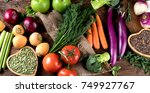 fresh raw vegetables and... | Shutterstock . vector #749927767