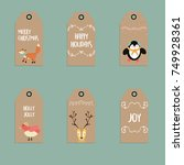 christmas gift tags   Shutterstock .eps vector #749928361