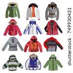set of children's jackets... | Shutterstock .eps vector #749930431