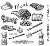vector ink hand drawn meat... | Shutterstock .eps vector #749932147