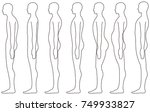 standing human  side posture.   Shutterstock .eps vector #749933827