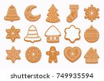 big set christmas gingerbread ... | Shutterstock .eps vector #749935594