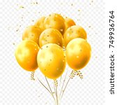 yellow balloons and golden star ... | Shutterstock .eps vector #749936764