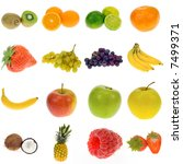 fruit collection isolated on a... | Shutterstock . vector #7499371