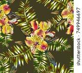 tropical flowers seamless... | Shutterstock . vector #749946697