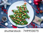 christmas tree salad for... | Shutterstock . vector #749953075