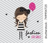 cute girl with balloon  happy... | Shutterstock .eps vector #749954725
