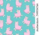cute pink fluffy llama  alpaca  ... | Shutterstock .eps vector #749954764