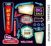 set of light signs  boards and... | Shutterstock .eps vector #749955265
