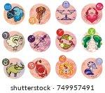 zodiac signs  set of horoscope... | Shutterstock .eps vector #749957491