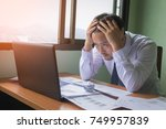 stressed in office. | Shutterstock . vector #749957839
