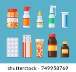 different medical pills and... | Shutterstock .eps vector #749958769