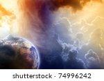 Armageddon, dramatic dark background - planet Earth disaster - stock photo
