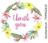 tropical plants wreath in a... | Shutterstock . vector #749962615