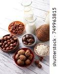 Small photo of Alternative types of milks. Vegan substitute dairy milk.