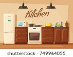 kitchen interior with furniture.... | Shutterstock .eps vector #749964055