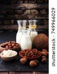 Small photo of Alternative types of milks. Vegan substitute dairy milk