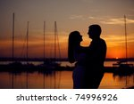 couple on the pier at sunset   Shutterstock . vector #74996926