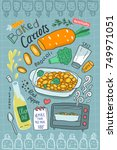 hand drawn recipe of baked... | Shutterstock .eps vector #749971051