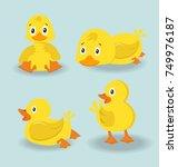 cute character duck set | Shutterstock .eps vector #749976187