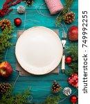 christmas dark green background ... | Shutterstock . vector #749992255