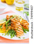 grilled salmon with spring... | Shutterstock . vector #74999407