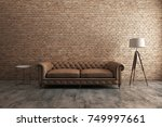 classic sofa with orange brick... | Shutterstock . vector #749997661