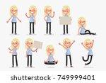 set of female character in... | Shutterstock .eps vector #749999401