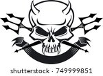 devil skull with crossed pitch... | Shutterstock .eps vector #749999851
