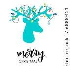 modern flat style christmas... | Shutterstock .eps vector #750000451