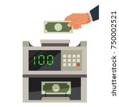 money counting machine and a... | Shutterstock .eps vector #750002521