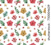 christmas seamless background. | Shutterstock . vector #750004639