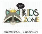 kids zone. vector cartoon logo... | Shutterstock .eps vector #750004864