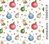 christmas seamless background. | Shutterstock . vector #750005719