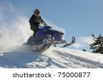 Man And Fast Action Snowmobile...