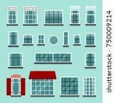 set of plastic or wooden window ... | Shutterstock .eps vector #750009214