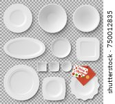 collection of plates of... | Shutterstock .eps vector #750012835