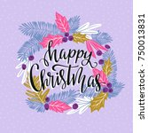 vector winter card with... | Shutterstock .eps vector #750013831